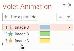 Modifier l'ordre d'une animation