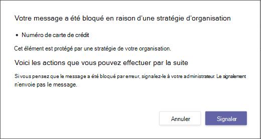 Boîte de dialogue expliquant pourquoi un message a été bloqué et ne peut pas être bloqué
