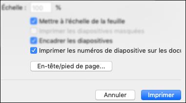 La boîte de dialogue Imprimer avec l'option Imprimer les numéros des diapositives sur les documents affichée.