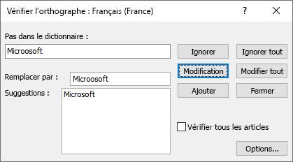Capture d'écran de la boîte de dialogue vérifier l'orthographe dans Publisher