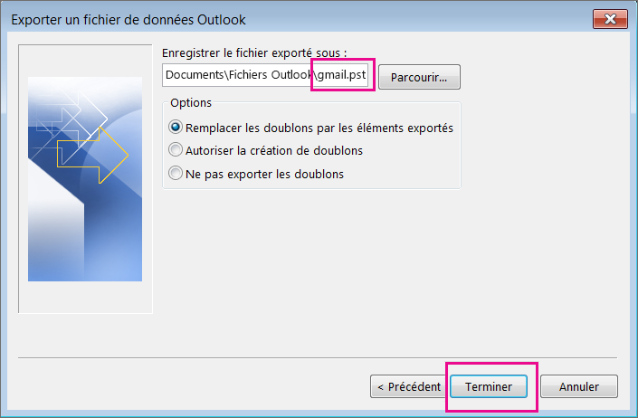 Accédez à l'emplacement où vous voulez créer le fichier .pst qui stockera vos messages Gmail, puis tapez un nom pour le fichier .pst.