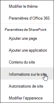 Lien vers les informations site SharePoint