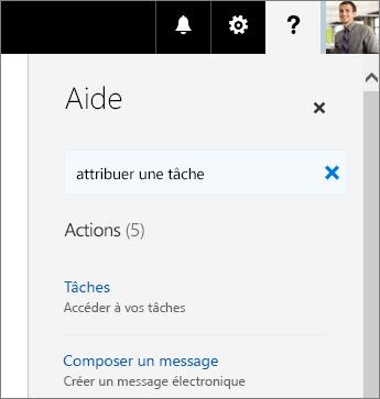 Fenêtre d'aide du Planificateur avec le texte «Affecter une tâche» tapé dans la zone «Dites-nous ce que vous voulez faire»