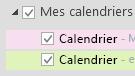Vos calendriers apparaissent sous Mes calendriers. Activez les cases à cocher des calendriers que vous voulez afficher.