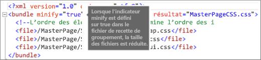 Capture d'écran de l'indicateur minify défini sur true