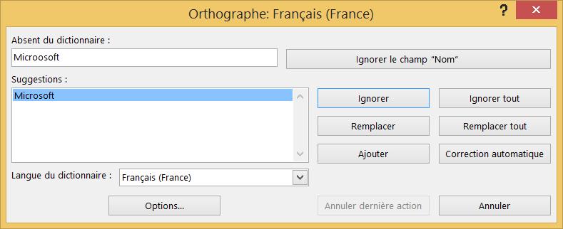 Boîte de dialogue Vérifier l'orthographe