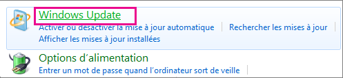 Lien Windows Update du Panneau de configuration