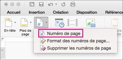 Dans l'onglet En-tête et pied de page, cliquez sur Numéro de page dans le menu Numéro de page pour ajouter un numéro de page.