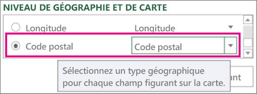Code postal mappe vers Code postal