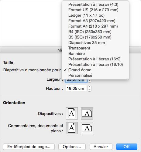 Boîte de dialogue Mise en page avec les options de taille de diapositive