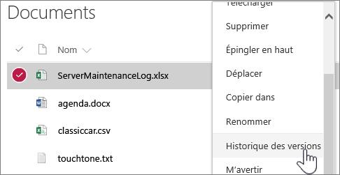 Menu contextuel d'une bibliothèque de documents avec l'option Historique des versions mise en évidence