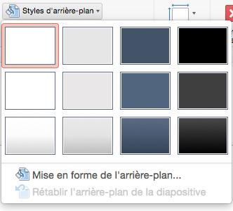 PowerPoint pour Mac - Menu Style d'arrière-plan