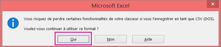 Image de l'invite rencontrée dans Excel vous demandant si vous voulez vraiment enregistrer le fichier au format CSV