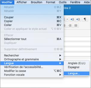 Menu Modifier > Langue dans Outlook2016 pour Mac