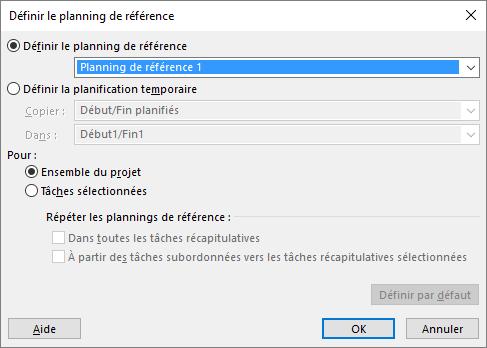 Capture d'écran de la boîte de dialogue Définir le planning de référence.