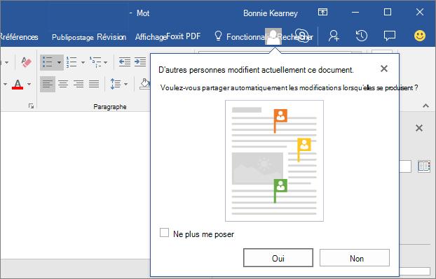 Capture d'écran avec d'autres personnes modifient ce document