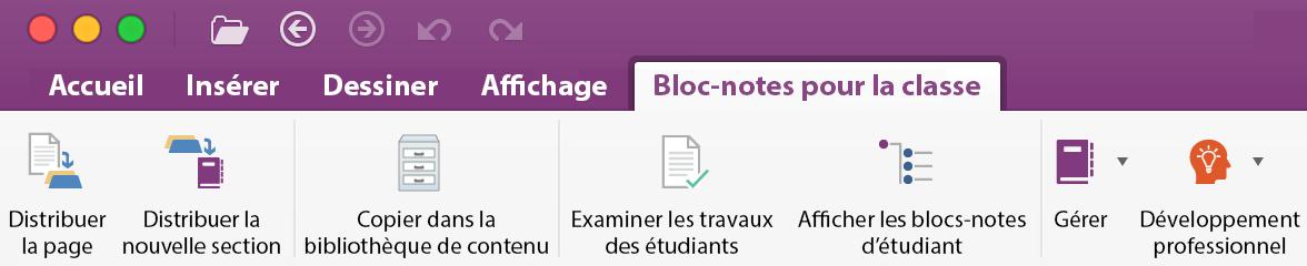 Outils de gestion de blocs-notes OneNote pour la classe dans le ruban