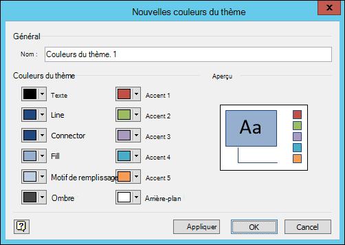 Screesnhot affichant la boîte de dialogue Créer de nouvelles couleurs de thème dans Visio
