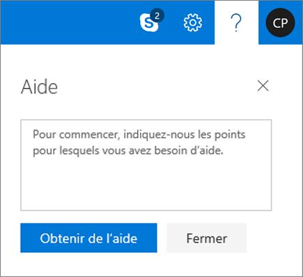 Capture d'écran montrant la boîte de dialogue d'Aide où vous pouvez entrer des informations concernant un problème et sélectionner le bouton Obtenir de l'aide.