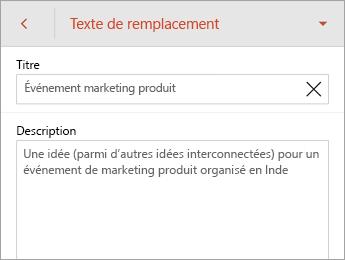 Commande Texte de remplacement dans l'onglet Forme