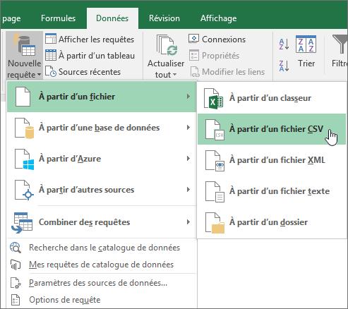 Sous l'onglet données, sélectionnez Nouvelle requête, sélectionnez à partir du fichier, puis depuis CSV