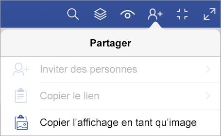 Options de partage dans Visio Viewer pour iPad