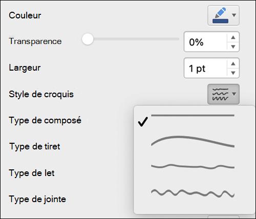 Options de format de ligne dans Mac avec le style Croquis sélectionné