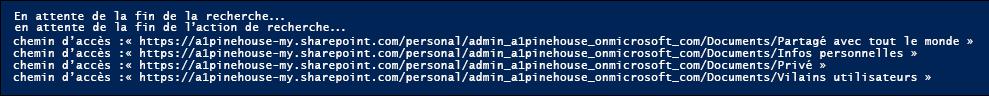 Exemple de la liste des noms de chemin d'accès pour les dossiers de site renvoyées par le script