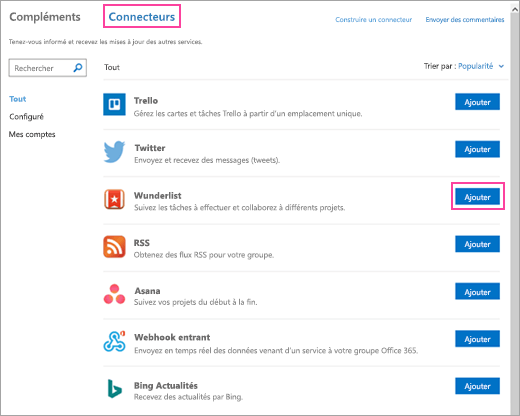 Capture d'écran des services connectés disponibles dans Outlook 2016