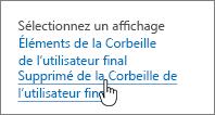SharePoint2013 - Option Supprimé de la Corbeille de l'utilisateur final mise en évidence