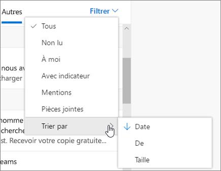 Filtrage de courrier dans Outlook sur le web