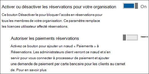 Capture d'écran: montrant la commande réservations d'administrateur à partir de la page Services et compléments