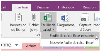 Capture d'écran du bouton Insérer une feuille de calcul dans OneNote2016