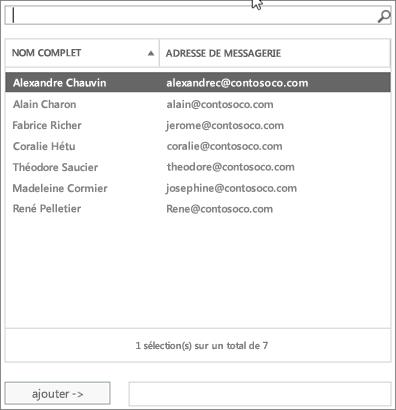 Capture d'écran: Tapez pour rechercher ou sélectionnez un utilisateur dans la liste