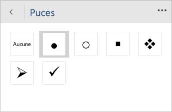 Capture d'écran du menu Puces permettant de choisir un style de puce dans Word Mobile