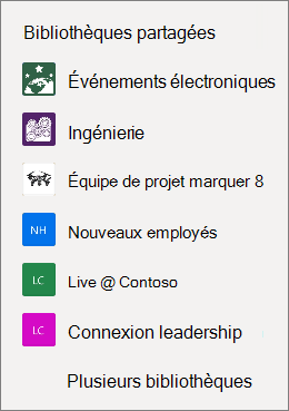 Liste de sites SharePoint sur le site web OneDrive