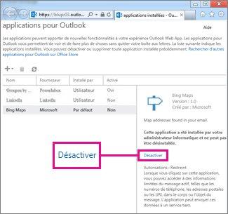 Désactiver une application pour Outlook