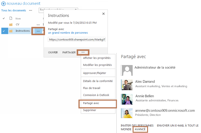 Chaîne de commandes utilisée pour accéder à la page d'autorisations du sous-dossier