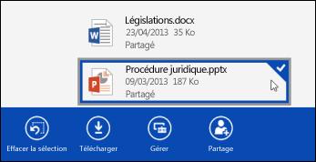 Fichier sélectionné dans OneDrive Entreprise