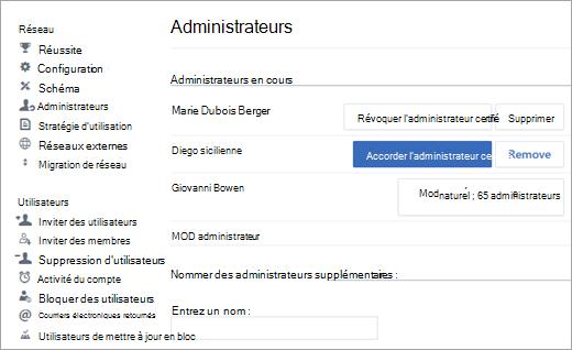Capture d'écran montrant la liste des administrateurs