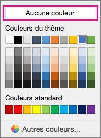 Options de couleur de trame de fond avec l'option Aucune couleur mise en évidence.