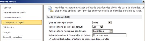 Paramètres de création de table des options Access