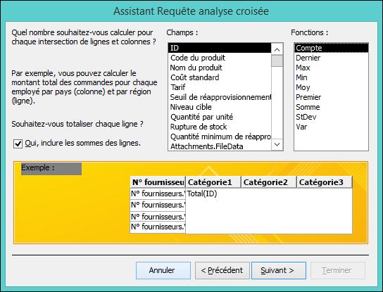 Sélectionnez un champ et une fonction à calculer dans l'Assistant Requête analyse croisée.