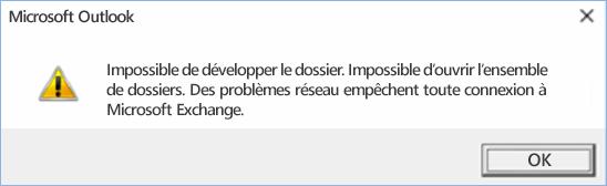 Erreur Outlook2016 - Impossible de développer le dossier