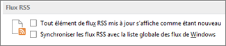 Section Flux RSS de la boîte de dialogue Options