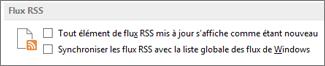 Section Flux RSS de la boîte de dialogue Options