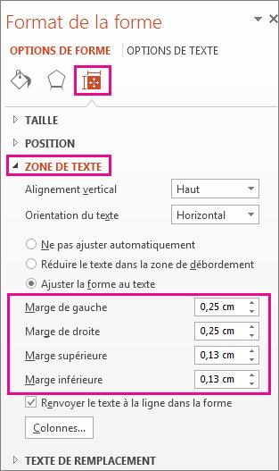 Options de zone de texte dans le volet Format de la forme