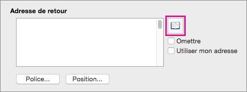 Décochez l'option Utiliser mon adresse et cliquez sur Insérer une adresse pour sélectionner une adresse d'expéditeur à partir de vos contacts.