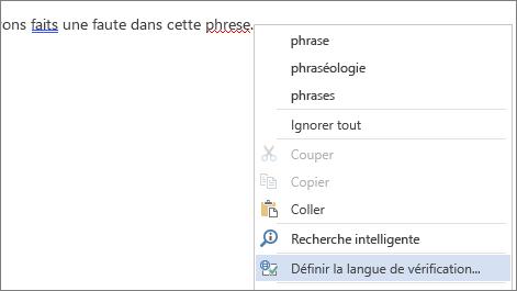 Option Définir la langue de vérification du menu contextuel Mot mal orthographié