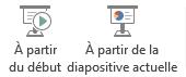 Démarrez un diaporama à partir du début ou de la diapositive sélectionnée.